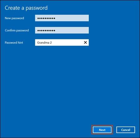 Ввод и подтверждение пароля в окне Создание пароля