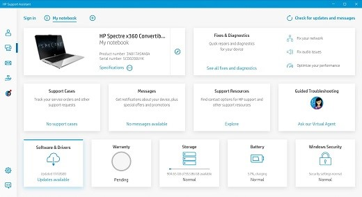 Selecting My notebook from the HP Support Assistant home screen