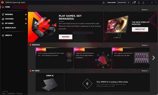 Startbildschirm des OMEN Gaming Hub