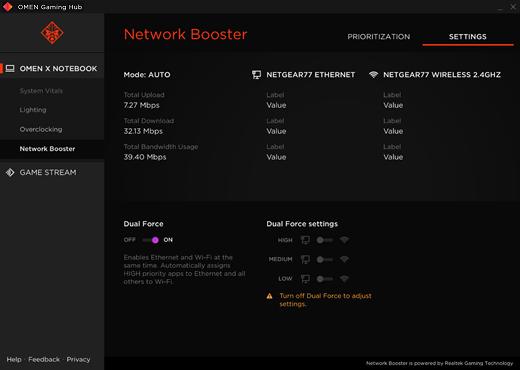 Einstellungen von Netzwerk-Booster
