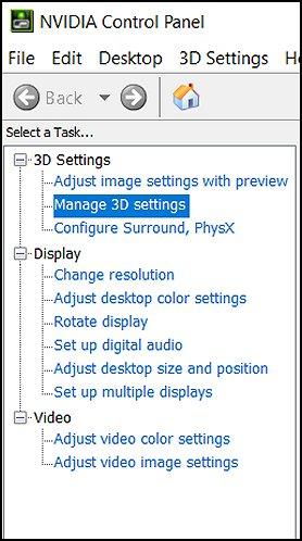 """""""3D-Einstellungen verwalten"""" in der NVIDIA-Systemsteuerung"""
