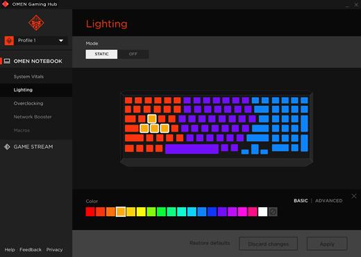 Selector de color básico de la iluminación de zonas