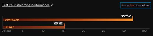 Visualización de la puntuación de la prueba de rendimiento de transmisión
