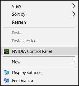 Sélection du panneau de configuration NVIDIA