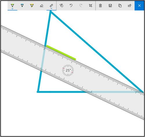 Ejemplo que muestra SketchPad con la regla activada