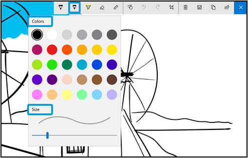 Menu kolorów irozmiaru narzędzia Ołówek