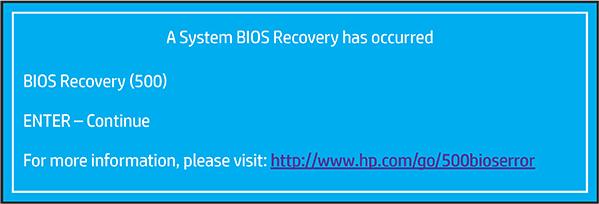 Identificar el Error de recuperación del BIOS (500)
