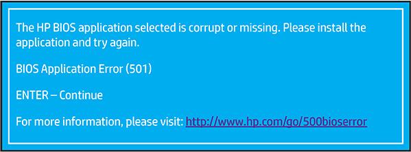 确认 BIOS 应用程序错误 (501)