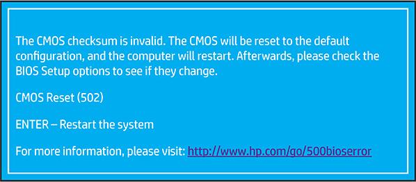 确认 CMOS 校验和错误 (502)