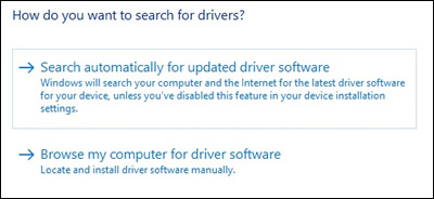 Selecting the automatic driver update search
