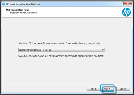 USB Preparation Page with USB drive selected and Next highlighted