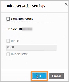 HP Scan Twain software, Job Reservation Settings dialog, Enable Reservation check box cleared