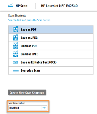 HP Scan Twain software, Job Reservation option highlighted