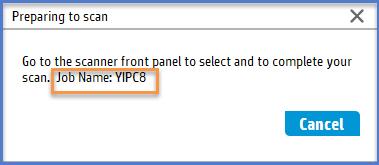 'Preparing to scan' dialog, Job Name: highlighted