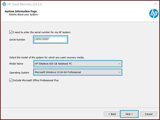 """Systeminformationsseite mit hervorgehobenen Feldern """"Seriennummer"""", """"Modellname"""" und """"Betriebssystem"""" und hervorgehobener Schaltfläche """"Weiter"""""""