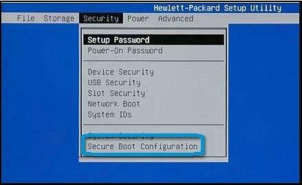 """Menü """"Security"""" (Sicherheit) mit ausgewählter Option """"Secure Boot Configuration"""" (Konfiguration mit sicherem Systemstart)"""