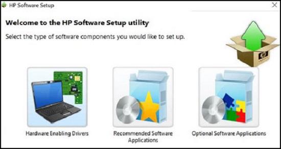 Assistant HP Software Setup avec des options pour configurer les composants logiciels
