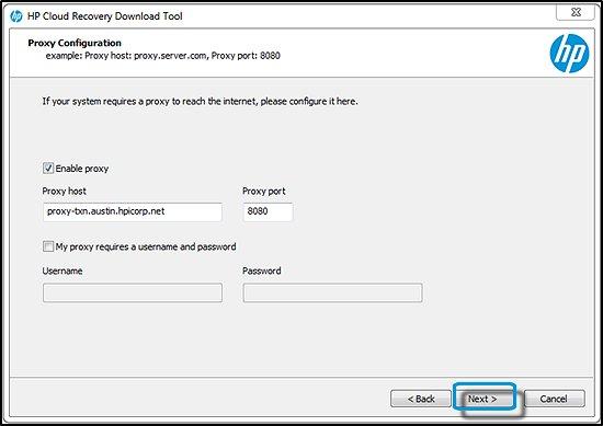 İleri seçeneği vurgulanmış olarak Proxy yapılandırma bilgileri ekranı