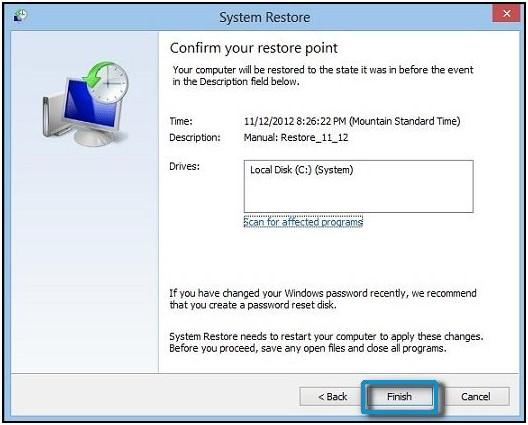Натискання кнопки Завершити на екрані підтвердження контрольної точки відновлення