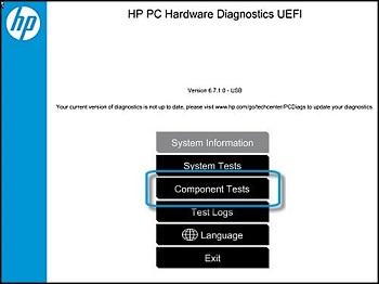 Тестирование компонентов в HP PC Hardware Diagnostic UEFI