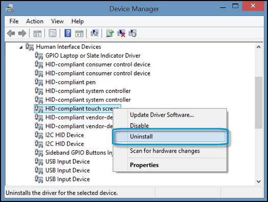 Удаление устройства HID-совместимый сенсорный экран в диспетчере устройств