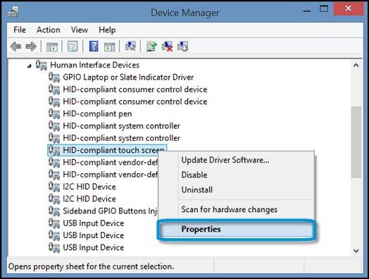 Пункт Свойства для устройства HID-совместимый сенсорный экран