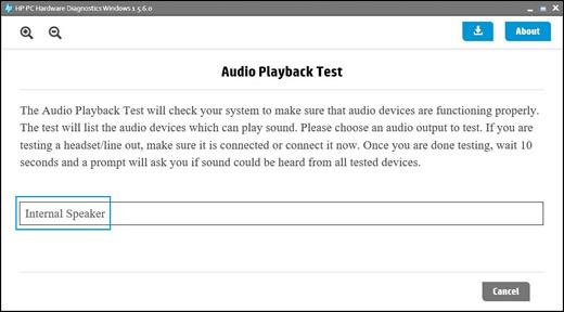 בחר מכשיר שמע לבדיקה