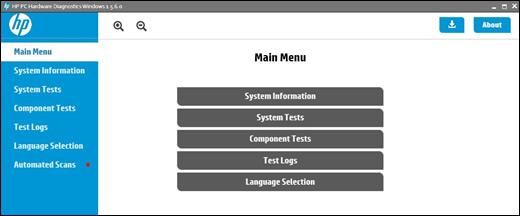 เมนูหลักของ HP PC Hardware Diagnostics
