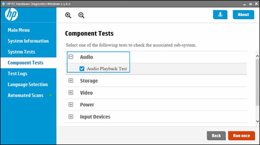 เมนู Component Tests (การทดสอบส่วนประกอบ) ที่มีการเลือก Audio (ระบบเสียง) ไว้