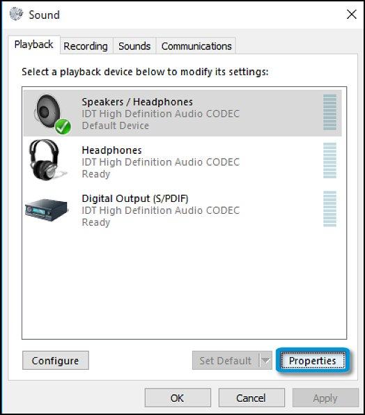 แท็บ Sound Playback (การเปิดเล่นเสียง) ที่มีการเลือกลำโพง/เฮดโฟนไว้และไฮไลท์ปุ่ม Properties (คุณสมบัติ) ไว้