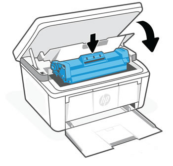 Aligning the cartridge with the tracks inside the printer, and then closing the toner access door