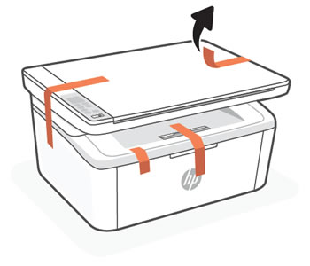 Removing packing tape from the outside of the printer
