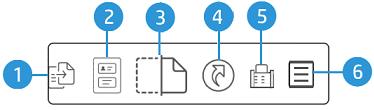 Példa az érintőképernyő kijelzőjén elérhető opciókra