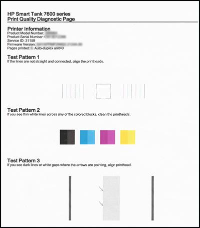 Exemple d'une page de diagnostic de la qualité d'impression