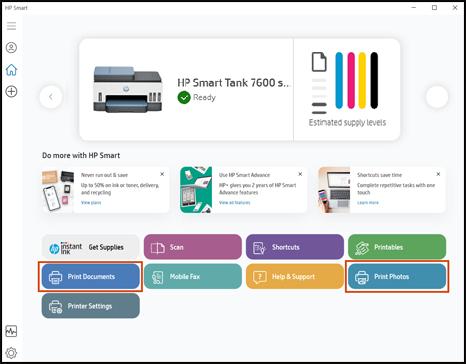 לחיצה על 'הדפס מסמכים' או 'הדפס תמונות' באפליקציה HP Smart