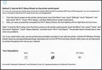 Ejemplo de la segunda página de una guía de inicio rápido de conexión inalámbrica