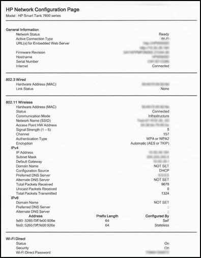 Ejemplo de la primera página de una página de configuración de red