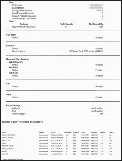 Exemple de la deuxième page de la configuration réseau