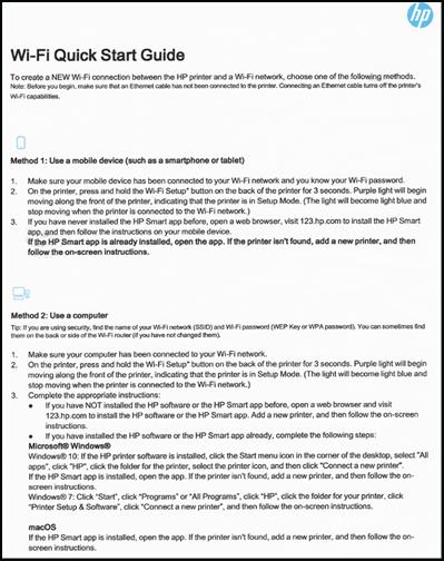 Exemple de la première page d'un Guide de démarrage rapide Wi-Fi