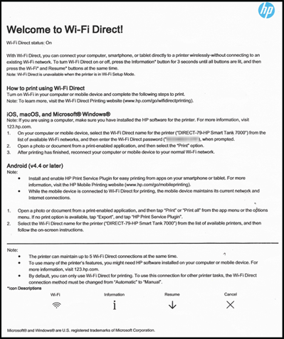 Пример страницы с информацией о Wi-Fi Direct