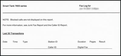 Пример отчета о факсе
