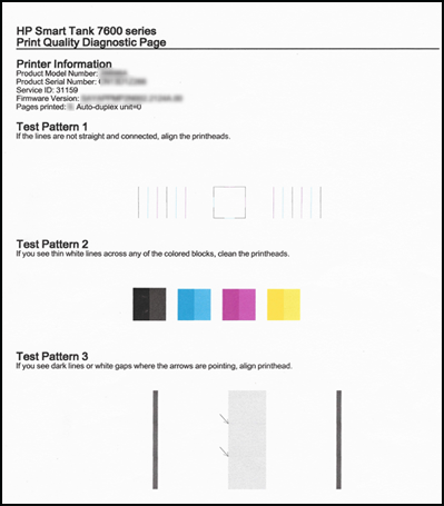 Пример страницы диагностики качества печати