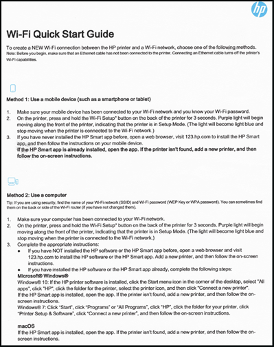 Пример первой страницы краткого руководства по настройке Wi-Fi