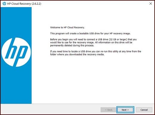 Pantalla de bienvenida de la herramienta de descarga de recuperación de HP en la nube con Siguiente resaltado