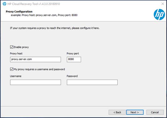Pantalla de configuración del proxy con Siguiente resaltado
