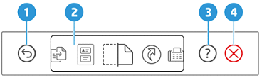 Example of the control panel buttons, touchscreen options, and lights
