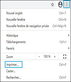 Clic sur l'icône des paramètres de Chrome, et sélection d'Imprimer