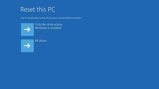 Eliminar todos los archivos de la unidad donde está instalado Windows o de todas las unidades