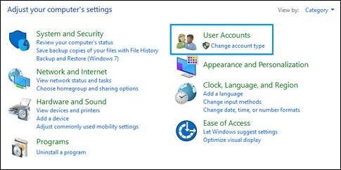 Cuentas de usuario en el Panel de Control