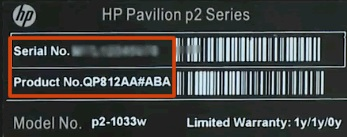 Computer label with the product and serial number highlighted